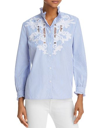 FRENCH CONNECTION - Olasega Stripe Embroidered Shirt