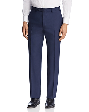 Canali Solid Micro Box Weave Regular Fit Dress Pants