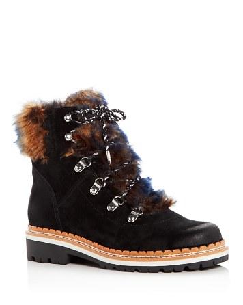 $Sam Edelman Women's Bronte Suede & Faux-Fur Booties - Bloomingdale's