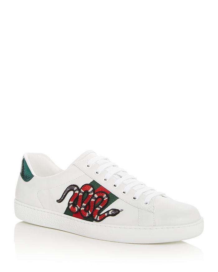 9511177f8 Gucci - Men's Embellished Snake Leather Lace Up Sneakers Product Description