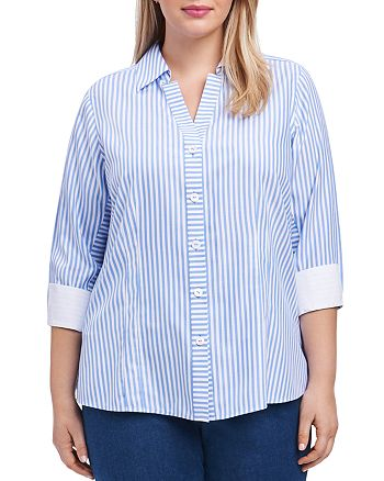 Foxcroft - Three-Quarter-Sleeve Striped Shirt