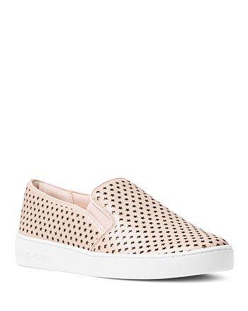 678376c39c510 MICHAEL Michael Kors - Women s Keaton Leather Star Cutout Slip-On Sneakers
