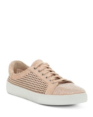 Vince Camuto Women's Chenta Embellished Nubuck Leather Low Top Lace Up Sneakers