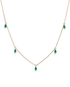 "Bloomingdale's - Emerald Teardrop Charm Necklace in 14K Yellow Gold, 17"" - 100% Exclusive"