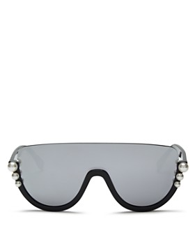 Fendi - Women's Embellished Mirrored Shield Sunglasses, 132mm