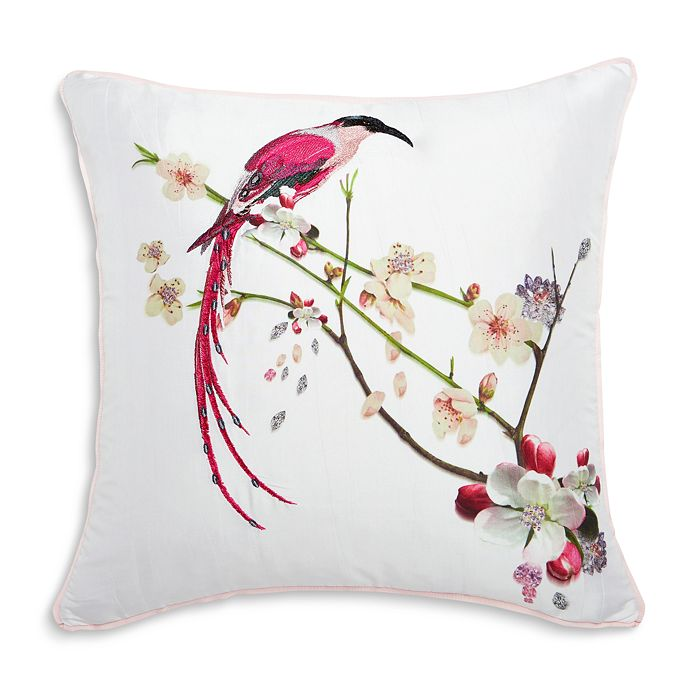 """Ted Baker - Printed Bird Embroidered Decorative Pillow, 18"""" x 18"""""""