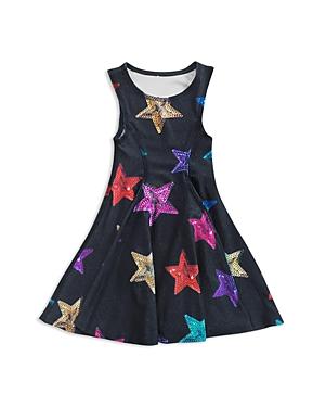 Terez Girls' Sequin Stars Print Skater Dress - Little Kid