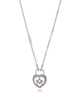 "PANDORA - Sterling Silver & Cubic Zirconia Lock Your Promise Heart Padlock Pendant Necklace, 23.6"""