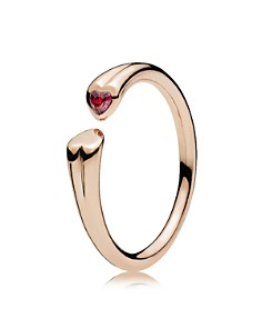 PANDORA - Sterling Silver & Cubic Zirconia Two Hearts Open Ring