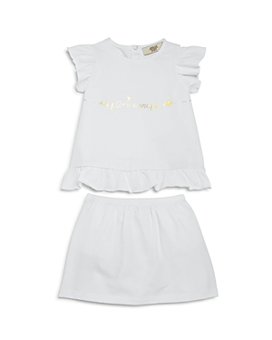 Armani Junior Girls' Bird-Print Logo Top & Skirt with Bloomers Set - Baby