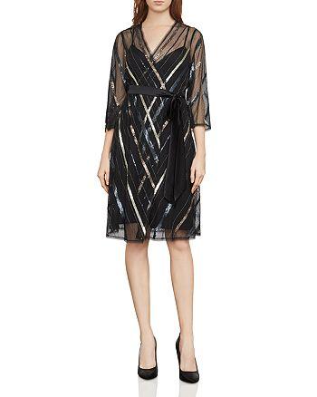 BCBGMAXAZRIA - Devon Embellished Faux-Wrap Dress