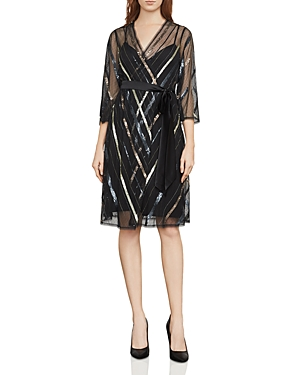 Bcbgmaxazria Devon Embellished Faux-Wrap Dress