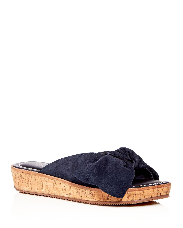 Bernardo Women's Suede Bow Platform Slide Sandals