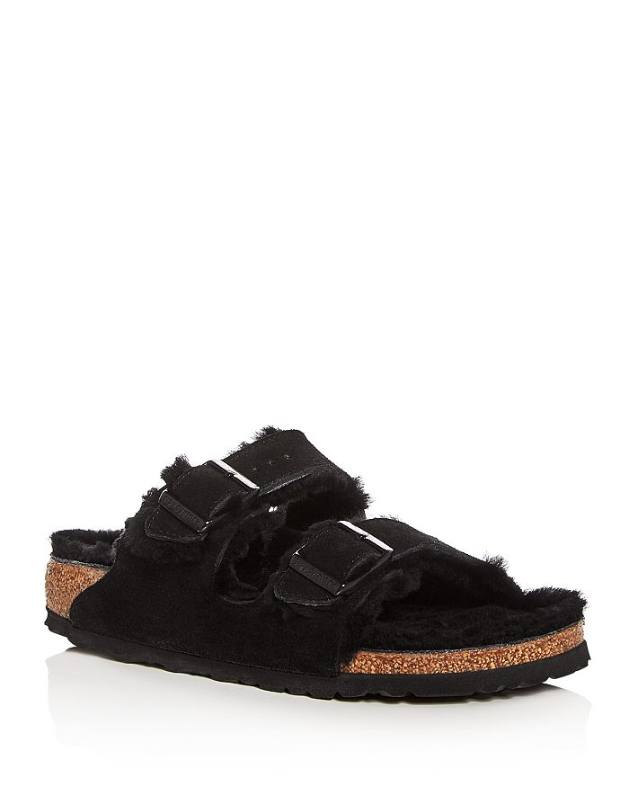 Birkenstock - Women's Arizona Suede & Shearling Slide Sandals