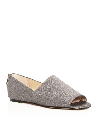 glitter peep toe flats