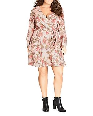 City Chic Gypsy Floral Faux-Wrap Dress