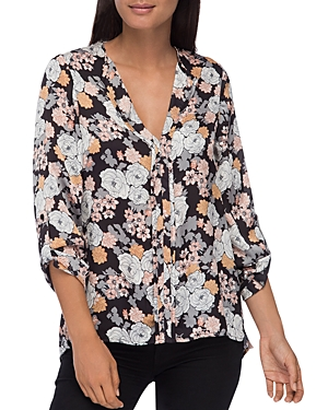 B Collection by Bobeau Cristy Floral-Print Pleat-Back Top