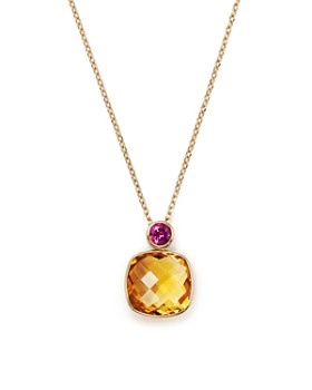 "Olivia B - 14K Yellow Gold Geometric Citrine & Rhodolite Garnet Pendant Necklace, 15"" - 100% Exclusive"