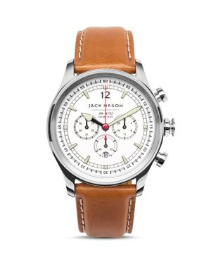 JACK MASON Nautical Stainless Steel & Italian Leather White Dial Chronograph Strap Watch in White/ Tan