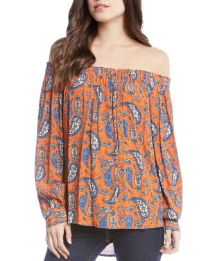 Karen Kane Paisley-Print Off-the-Shoulder Top