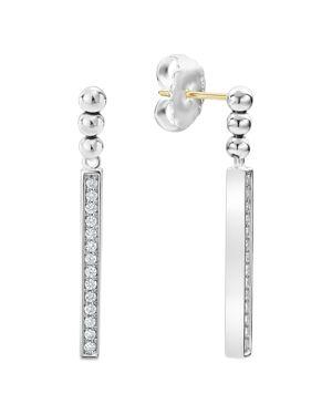 Lagos Sterling Silver Caviar Spark Diamond Drop Earrings