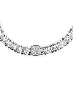 LAGOS - Sterling Silver Caviar Spark Diamond Station Collar Necklace, 18""
