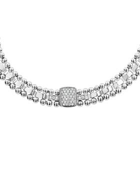 "LAGOS - Sterling Silver Caviar Spark Diamond Station Collar Necklace, 18"""