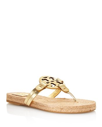 ccaa43825 Tory Burch Women's Miller Leather Thong Espadrille Sandals ...