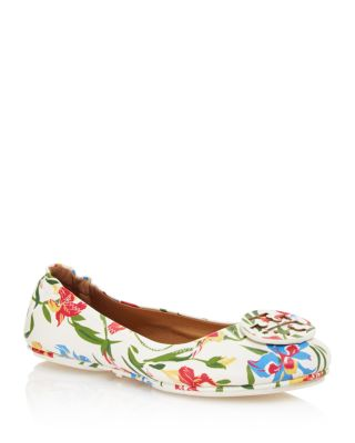 TORY BURCH Women'S Minnie Floral Print Leather Travel Ballet Flats, Painted  Iris