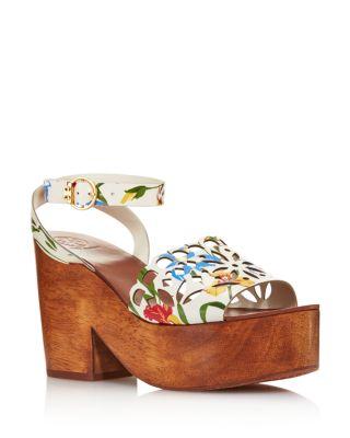 Leather Platform Block Heel Sandals