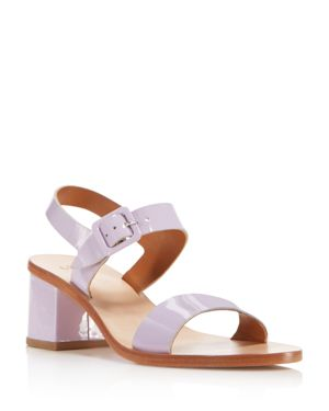 LOQ WOMEN'S PATENT LEATHER BLOCK HEEL ANKLE STRAP SANDALS