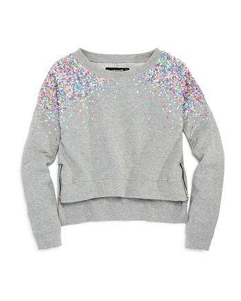 BLANKNYC - Girls' Confetti Sequin Sweatshirt with Zipper Details - Big Kid
