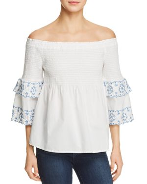 BeachLunchLounge Smocked Off-the-Shoulder Top