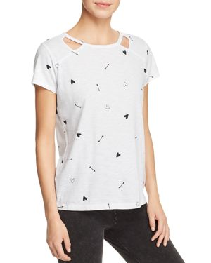 Marc New York Performance Printed Cutout Tee