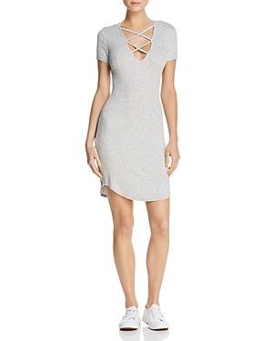 Olivaceous Lace-Up Rib-Knit Dress