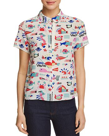 Emporio Armani - Geometric Fish Print Silk Top