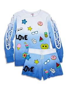 Flowers by Zoe Girls' Distressed Ombré Love Sweatshirt & Shorts - Big Kid - Bloomingdale's_0
