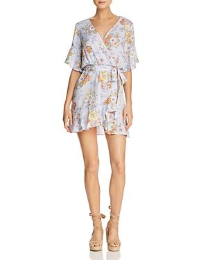 Sadie & Sage Floral-Print Faux-Wrap Mini Dress