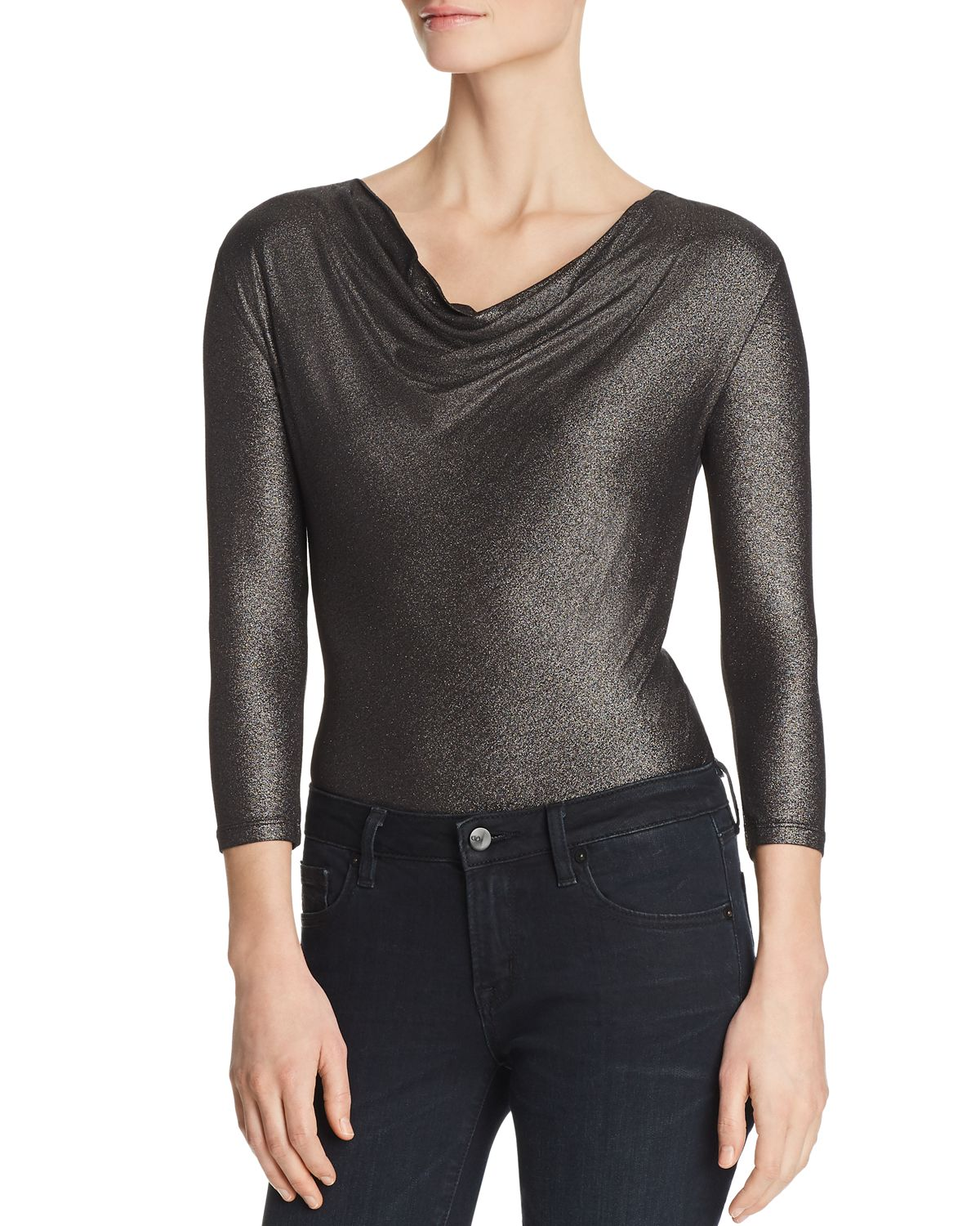 Metallic Cowl Neck Top by Majestic Filatures