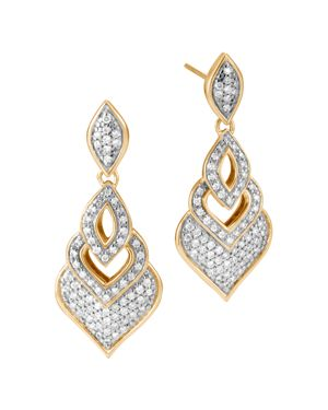 John Hardy 18K Yellow Gold Legends Naga Pave Diamond Drop Earrings