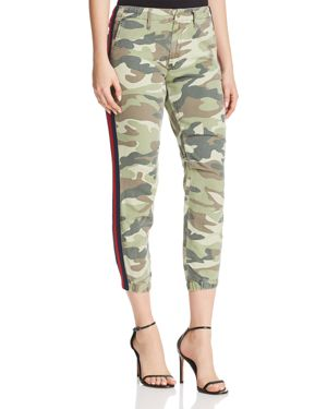 No-Zip Misfit Straight-Leg Camo-Print Cropped Pants W/ Side Stripe in Camouflage