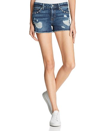 GUESS - Studded Distressed Denim Shorts in Dark Wash