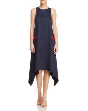 Chemise Sleeveless Dress W/ Handkerchief Hem, Navy