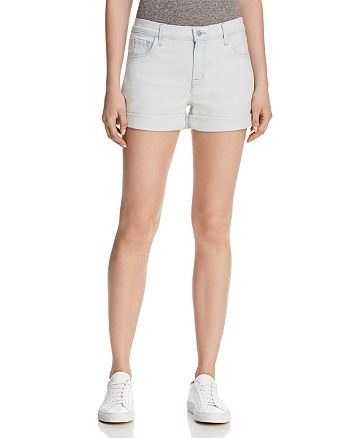 J Brand - Johnny High-Rise Cuffed Denim Shorts in Powdered