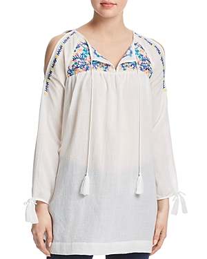 Aqua Embroidered Cold-Shoulder Tunic - 100% Exclusive
