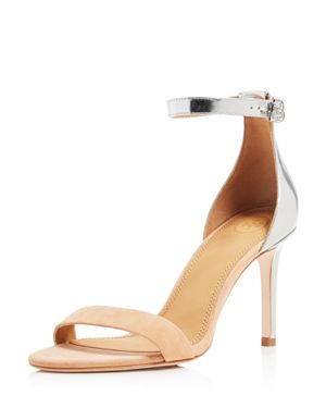 Tory Burch Women's Ellie Suede & Metallic Leather High Heel Ankle Strap Sandals