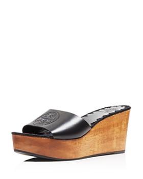 Tory Burch - Women's Patty Leather Platform Wedge Slide Sandals