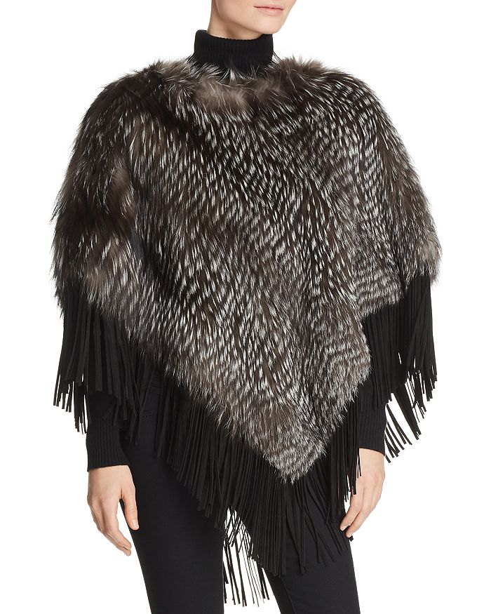 Maximilian Furs - Suede-Trim Silver Fox Fur Poncho - 100% Exclusive