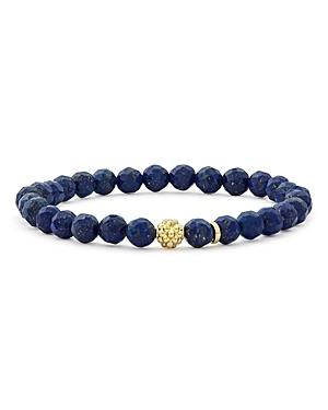 Lagos 18K Gold Caviar Icon Lapis Beaded Stretch Bracelet, 6mm