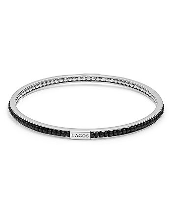 LAGOS - Sterling Silver Caviar Icon Onyx Beaded Bangle Bracelet